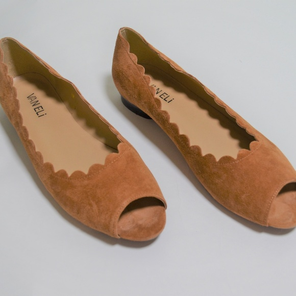 Vaneli Suede Tan Peep Toe Flats